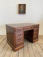 Vintage Antique Oak Double Pedestal Desk