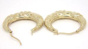 Fancy Hoop Earrings - 9ct Yellow Gold - 32mm