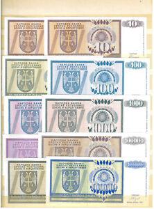 Bosnia, Republika Srpska, 1992/93, 20 banknotes, AUNC/UNC