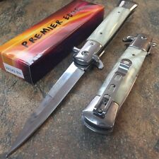 """9"""" Italian Stiletto Tactical Spring Assisted Open Pocket Knife White 300342-WH C"""