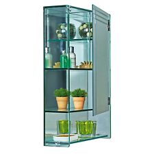 Wall Mounted Glass Bathroom Cabinet 4 Tier Storage Unit | Marritimo