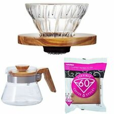 HARIO Set V60 OliveWood Coffee Dripper Server Paper Filter About for 2cups Japan