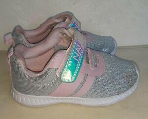 Nautica Baby Toddler Girls Silver Metallic Pink Shoes Sneakers, Sz 7