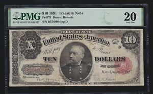 US 1891 $10 Treasury Note Bruce/Roberts FR 371 PMG 20 VF (084)