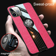 Case For iPhone 11 Pro Max XS XR 6 7 8 Case Cloth Finger Ring Stand Magnet Cover