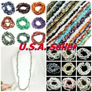 "Natural Gemstone Chips Nugget Freeform Loose Bead 34"" Chip Necklace Bracelet USA"