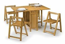 Julian Bowen Savoy Space Saving Folding Butterfly Table 4 Chairs Light Oak
