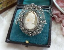 Antique Jewelry Silver Shell Cameo Victorian Lady Brooch Antique Jewellery Pin