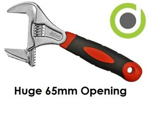 """Extra Wide Deep Adjustable Spanner Wrench Shifter 8"""" 10"""" 65mm Opening Big Jaw"""