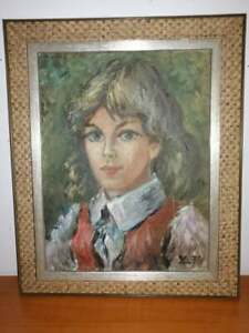 YNGVE LIDSTRÖM oil painting on canvas girl portrait flickporträtt signed 1974