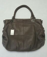 TIGNANELLO PEBBLED LEATHER LARGE SHOULDER BAG DARK BROWN
