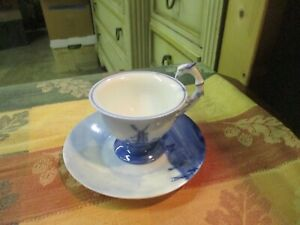Vintage Hand Painted Delft Blue Holland Footed Cup and Saucer germany