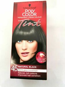 Schwarzkopf Poly Color Tint 45 Natural Black Hair Dye Permanent Colour Ladies
