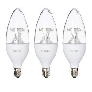 PHILIPS DIMMABLE LED, 40 WATT EQUIV, BRIGHT WHITE (5000K), E12 BASE, 3 PACK