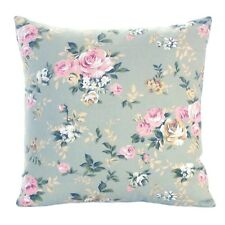 Set of 4 Sea Green and Pink Floral Country Cottage Cushion Covers 16'' x 16''