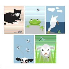 "IKEA Kort Art Card""Animals""5- 4""x 6""Prints Cat Cow Duck Lamb Frog Wiebke Braasch"