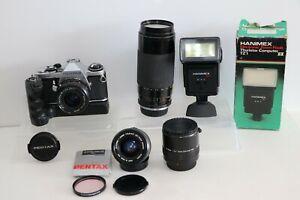 Pentax ME Super 35mm SLR 28mm f2.8 PENTAX LENS, WINDER,75-300mm, 35-70mm,FLASH++