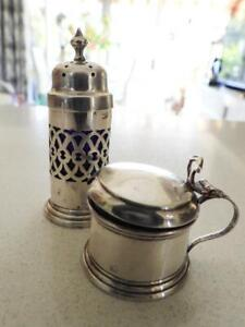 Antique Sterling Silver Blue Glass Lined Pepper Shaker & Salt Cellar Hallmarked