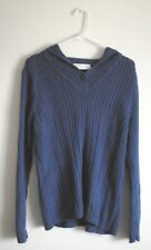 First Issue Liz Claiborne Blue Hooded Sweater confetti/marbled thread weave L