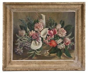 Carle John Blenner Still Life Oil Painting Flowers Floral Calla Lilies Mid Centu