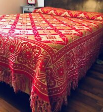 """Tapestry Woven Blanket Fringed Reversible Bedspread 98""""x 91"""". Red /Beige/ Ivory"""