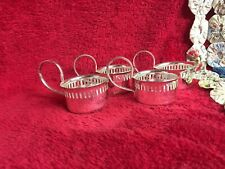 4 Pc Set of Silverplate Candle Holders with Handles Votive or Tealight Candles