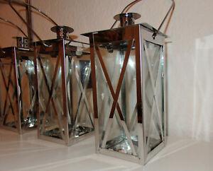 Windlicht Laterne aus Edelstahl 10x10x20cm silber mit Glasscheiben
