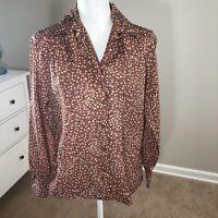 Vintage 70's Cos Cob Blouse Long Sleeve Button Down Secretary Bronze Brown 11/12