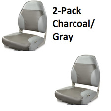 High Back Fold Down Boat Seat 2-Pack Pontoon Boating Fishing Gray/Charc