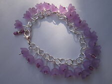 Flower Charm Bracelet - Silver Plated - Purple Lucite Flowers