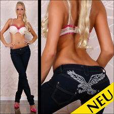 NEU 🌸 Sexy Low Cut DARK Blue Jeans STRASS Silber Eagle Stitchery 🌸 40