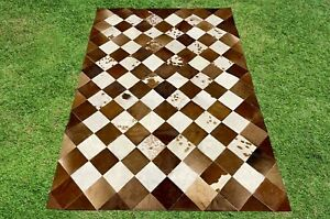 Cowhide Rug Patchwork Brown White Rectangle Area Rug Real Hair on Cow Hide 4 x 6