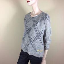 FROGBOX Damen Pullover 36 S Grau Weite Form Rauten Oberteil Top Casual Style