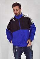 ADIDAS Felpa Hoodies Sweatshirt Blu Nera In Poliestere TG XXL Uomo Man