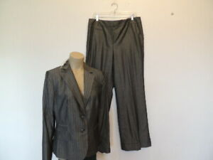 New with tag $228.00  Ann Taylor Loft size 12 gray stripe wool blend pants suit