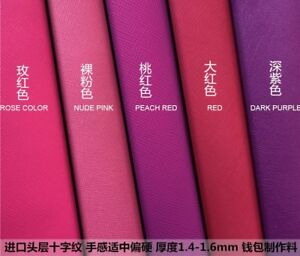 Red/pink taiga First layer leather material cross pattern cowhide Leathercraft