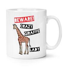 Tenga cuidado con Crazy Jirafa Dama 10oz Taza Taza-Divertido Animal Zoo Safari