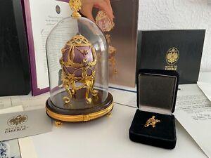 """Original Faberge Ei """"Veilchen im Schnee"""" Musical Egg-Franklin Mint -Violets in t"""