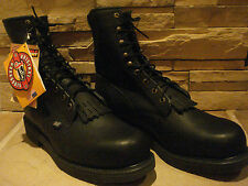 Justin Black Leather Workboots with Steel Toe (no box)-Size 14D - New With Tags