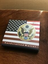 """Lord West Mens """"American Eagle"""" Bi-Fold Leather Wallet with Flipout ID and Coin"""