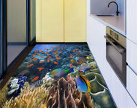3D Red Sea Tropical Fish Coral Reef Kitchen Floor Sticker Bathroom Wall Murals