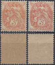 TYPE BLANC N°109a ROUGE/ORANGE + N°109e PAPIER GC TYPE IB NEUF ** LUXE MNH