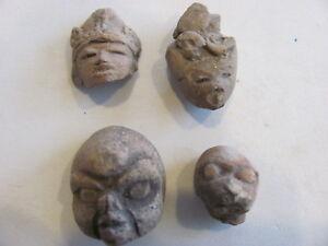 (4) Pre-Columbian  Terracotta Effigy Heads 200-600 A.D.