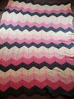 Vintage  Afghan Crocheted Blanket Throw Chevron Zig Zag 85x63  Peach And Gray