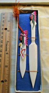 Vtg Japan Celluloid Handmade Letter Opener Page Turner Indian 1940's