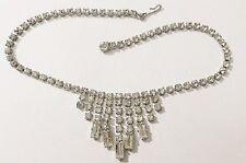 collier ancien rivière de cristaux diamant couleur argent 4109