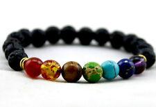 Reiki Healing Energy 7 Chakra Balancing Volcanic Black Lava Bead Stone Bracelet