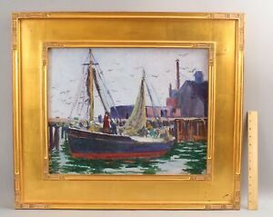 Antique E.C. Fox Provincetown Fishing Wharf Oil Painting, Long Island NY Artist