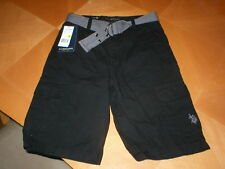 U.S. Polo Assn Boys Shorts cargo shorts black grey belt sz 12 NWT