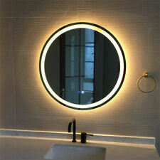 """Round Bathroom Vanity Mirror 24"""" Wall Antifog Mirror with Led Light Touch Button"""